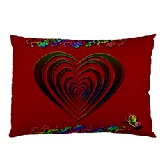Red Heart Colorful Love Shape Pillow Case by Nexatart