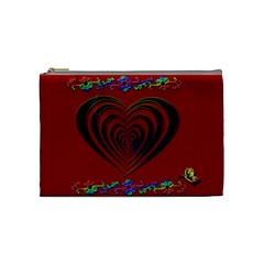 Red Heart Colorful Love Shape Cosmetic Bag (medium)  by Nexatart