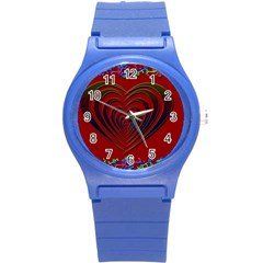 Red Heart Colorful Love Shape Round Plastic Sport Watch (s) by Nexatart