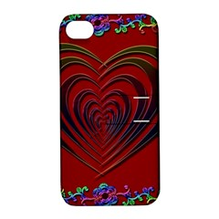 Red Heart Colorful Love Shape Apple Iphone 4/4s Hardshell Case With Stand by Nexatart