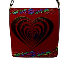 Red Heart Colorful Love Shape Flap Messenger Bag (l)  by Nexatart