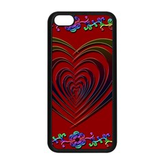 Red Heart Colorful Love Shape Apple Iphone 5c Seamless Case (black) by Nexatart