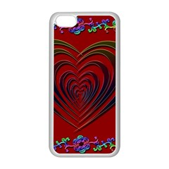 Red Heart Colorful Love Shape Apple Iphone 5c Seamless Case (white) by Nexatart