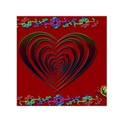 Red Heart Colorful Love Shape Small Satin Scarf (square) by Nexatart
