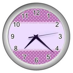 Purple Modern Wall Clocks (silver)  by Nexatart