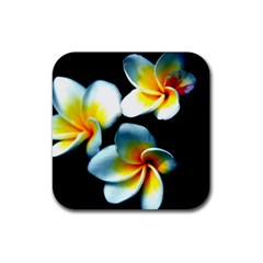 Flowers Black White Bunch Floral Rubber Square Coaster (4 Pack)  by Nexatart