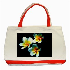 Flowers Black White Bunch Floral Classic Tote Bag (Red)