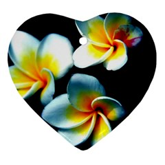 Flowers Black White Bunch Floral Heart Ornament (two Sides) by Nexatart