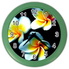 Flowers Black White Bunch Floral Color Wall Clocks by Nexatart