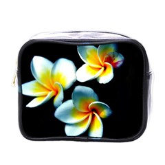 Flowers Black White Bunch Floral Mini Toiletries Bags by Nexatart