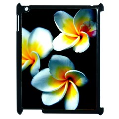 Flowers Black White Bunch Floral Apple Ipad 2 Case (black) by Nexatart