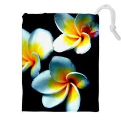 Flowers Black White Bunch Floral Drawstring Pouches (xxl) by Nexatart