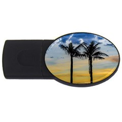 Palm Trees Against Sunset Sky Usb Flash Drive Oval (4 Gb) by dflcprints