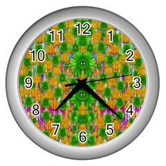 Jungle Love In Fantasy Landscape Of Freedom Peace Wall Clocks (silver)  by pepitasart