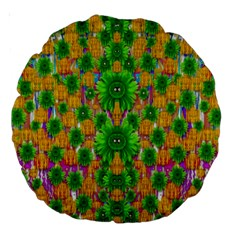 Jungle Love In Fantasy Landscape Of Freedom Peace Large 18  Premium Round Cushions by pepitasart