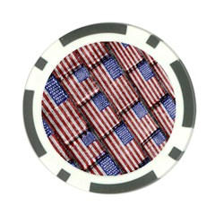 Usa Flag Grunge Pattern Poker Chip Card Guard (10 Pack) by dflcprints