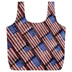 Usa Flag Grunge Pattern Full Print Recycle Bags (l)  by dflcprints