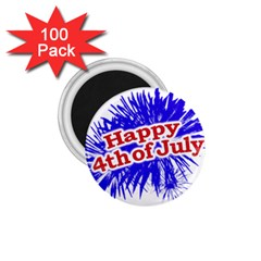 Happy 4th Of July Graphic Logo 1 75  Magnets (100 Pack)  by dflcprints