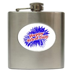 Happy 4th Of July Graphic Logo Hip Flask (6 Oz) by dflcprints