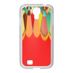 Colors On Red Samsung Galaxy S4 I9500/ I9505 Case (white) by linceazul