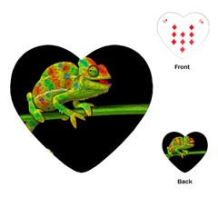 Chameleons Playing Cards (heart)  by Valentinaart