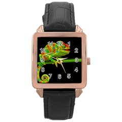 Chameleons Rose Gold Leather Watch  by Valentinaart