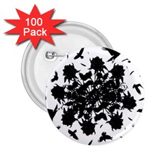 Black Roses And Ravens  2 25  Buttons (100 Pack)  by Valentinaart