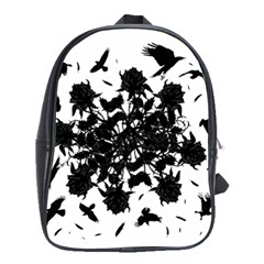 Black Roses And Ravens  School Bags(large)  by Valentinaart