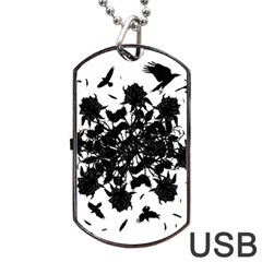 Black Roses And Ravens  Dog Tag Usb Flash (one Side) by Valentinaart