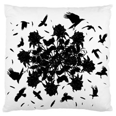 Black Roses And Ravens  Large Flano Cushion Case (one Side) by Valentinaart