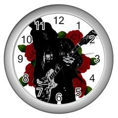 Slash Wall Clocks (silver)  by Valentinaart