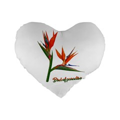 Bird Of Paradise Standard 16  Premium Flano Heart Shape Cushions by Valentinaart