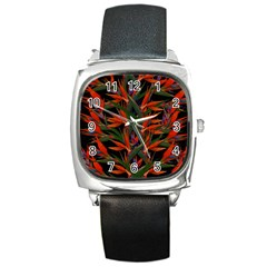 Bird Of Paradise Square Metal Watch by Valentinaart