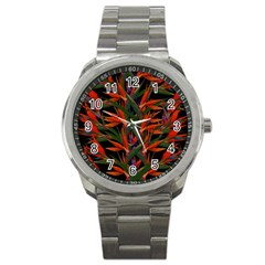 Bird Of Paradise Sport Metal Watch by Valentinaart