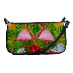 Flamingo Shoulder Clutch Bags by Valentinaart