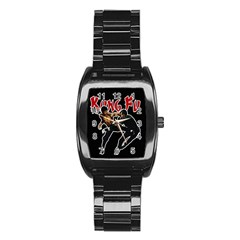 Kung Fu  Stainless Steel Barrel Watch by Valentinaart