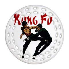 Kung Fu  Round Filigree Ornament (two Sides) by Valentinaart