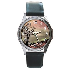 Fantasy Landscape Illustration Round Metal Watch by dflcprints
