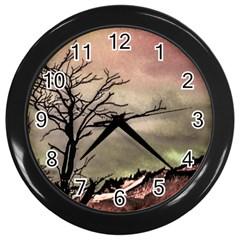 Fantasy Landscape Illustration Wall Clocks (black) by dflcprints