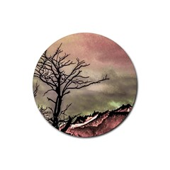 Fantasy Landscape Illustration Rubber Coaster (round)  by dflcprints