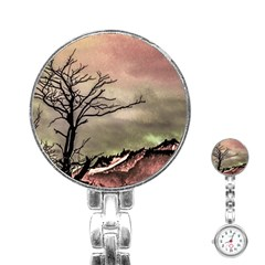 Fantasy Landscape Illustration Stainless Steel Nurses Watch by dflcprints