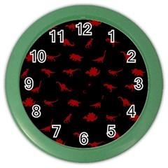Dinosaurs Pattern Color Wall Clocks by ValentinaDesign