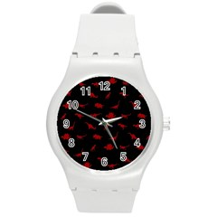 Dinosaurs Pattern Round Plastic Sport Watch (m) by ValentinaDesign