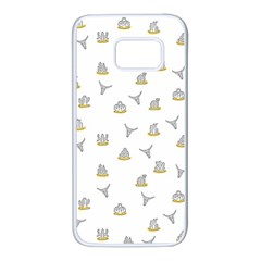 Cactus Pattern Samsung Galaxy S7 White Seamless Case by ValentinaDesign