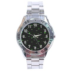 Cactus Pattern Stainless Steel Analogue Watch by ValentinaDesign