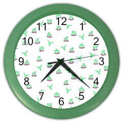 Cactus Pattern Color Wall Clocks by ValentinaDesign