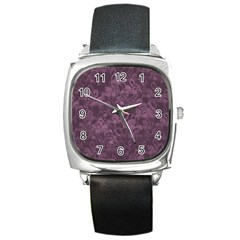 Flamingo Pattern Square Metal Watch by ValentinaDesign