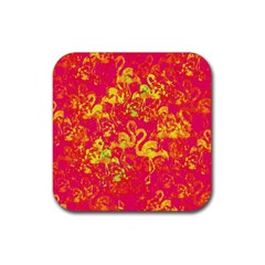 Flamingo Pattern Rubber Coaster (square)  by ValentinaDesign