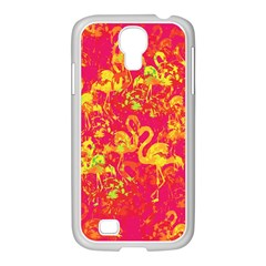 Flamingo Pattern Samsung Galaxy S4 I9500/ I9505 Case (white) by ValentinaDesign