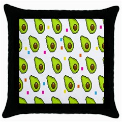Avocado Seeds Green Fruit Plaid Throw Pillow Case (black) by Mariart
